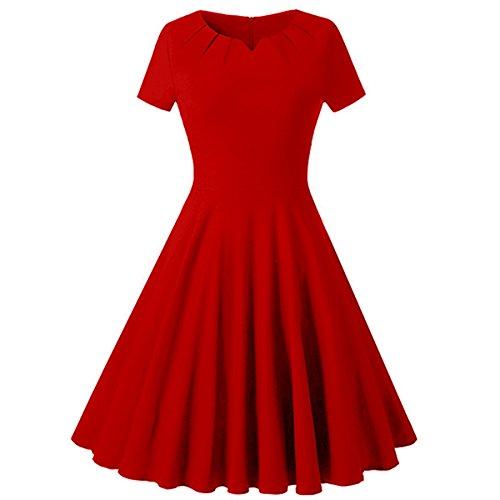 QIN&X Le donne retrò Hepburn Polka Pinup abito Swing Red