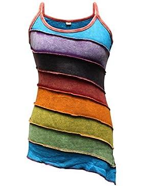 Shopoholic De Moda Para Dama Deslavado Arcoiris De rayas Hippie Boho Camiseta de tirantes
