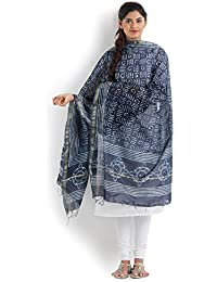 Indigo Blue Chanderi Cotton Dupatta With Dabu Hand Block Print