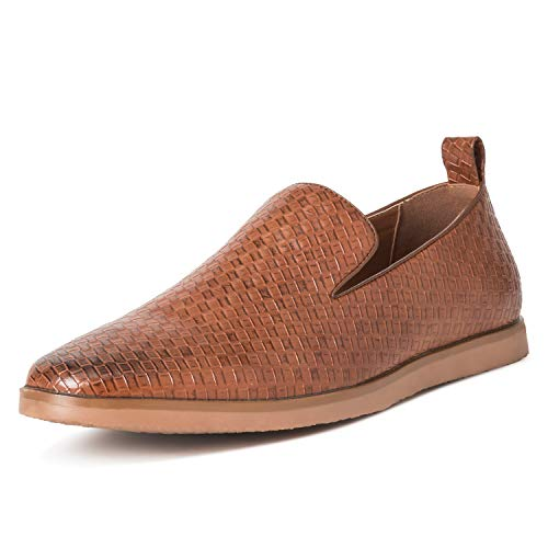 Herren Queensberry Kingsley Weben Sommer Leder Schlüpfen Arbeit Schuhe - Tan - EU45/UK11 - QB0035 (Schuhe Arbeit Für Leder Männer)