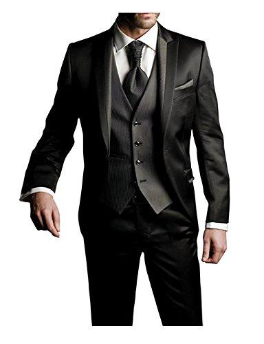 Suit Me Herren 3-Teilig Anzug Slim Fit Hochzeiten Party Smoking Anzuege Sakko,Streifen Weste,Hose Schwarz S (XXL)