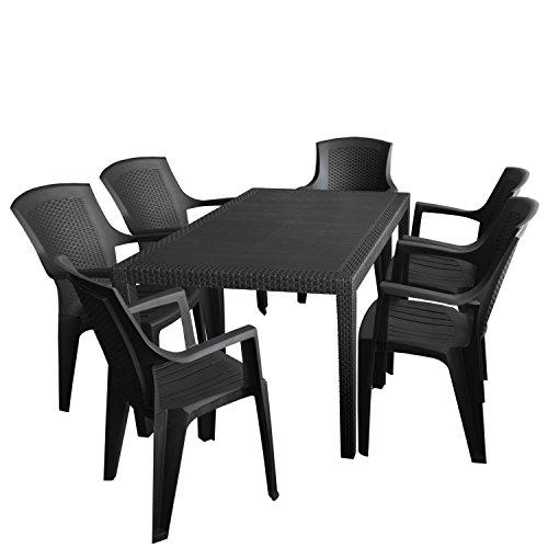 7tlg Sitzgruppe Gartenmöbel Campingmöbel Bistromöbel Set Gartentisch 150x90cm Vollkunststoff Stapelstuhl Gartenstuhl Anthrazit