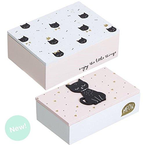 Dcasa - Juego de 2 cajas madera blanco cat lover