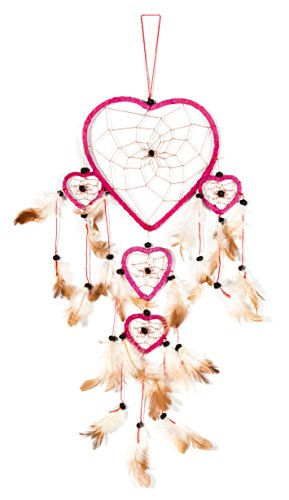 Ca 60cm x 16cm Dreamcatcher Atrapasueños Corazon Heart Rojo Los buenos sueños