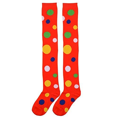 Weihnachts Kostüm Strumpf - TIGERROSA Strümpfen 2 Pairs Clown Style Strümpfe Dot Kniehohe Lange Socken Baumwolle Kostüm Strümpfe Für Weihnachten Stage Performance Dance Style A