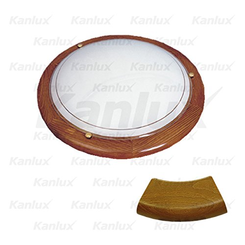 Deckenleuchte, Wandleuchte, Farbe: eiche, 1 x E27, max. 60W, EEK : A - E, Lichtkuppel: gebogenes Glas, von Innen angestrichen / Grundplatte: Stahlblech / Umreifung: Holz / Halter zur Befestigung der Lichtkuppel: Messing -