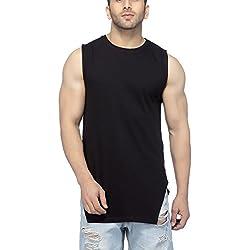Tinted Men's Solid Slim Fit T-Shirt (TJ608_Black_X-Large)
