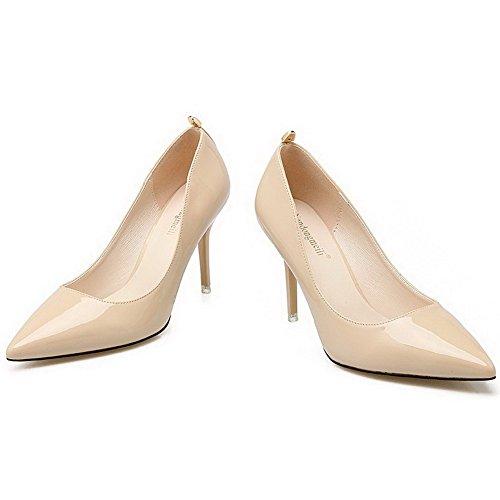 AalarDom Femme Stylet Pointu Tire Matière Souple Chaussures Légeres Abricot-Métal
