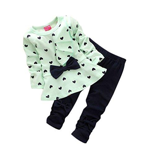 QinMM Kleinkind SäUglingsbaby MäDchen Kleidungs Satz, Neugeborene Baby SäTze HerzföRmig Druck Fliege Nette 2PCS Scherzt Gesetzte Lange HüLsen T-Shirt + Hosen (12-24M, Grün) -