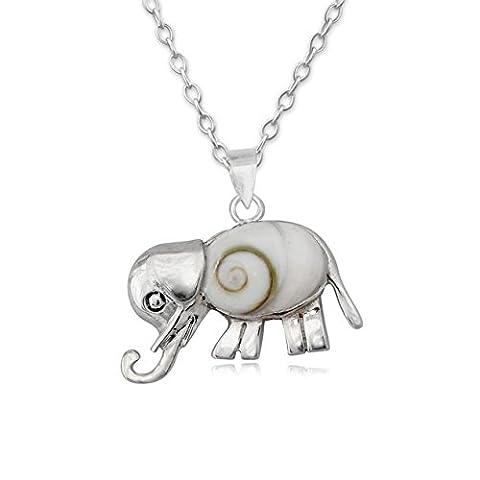 EYS JEWELRY® Damen-Halskette 45 cm Elefant 16 x 22 mm Shiva Auge Muschel 925 Sterling Silber weiß im Etui Damenkette