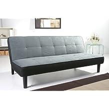 Schlafsofa in grau/schwarzer Velouroptik, Couch mit Schlaffunktion