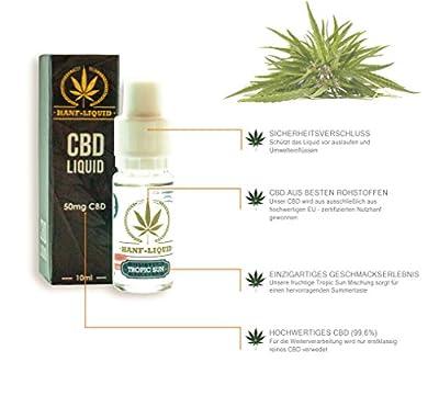 CBD Liquid 10ml Tropic Sun Aroma Premium Hanf Cannabis Sativa E Liquid mit 50mg CBD Cannabidiol Öl für E Zigaretten Vaporizer und E Shishas (nikotinfrei) (50mg CBD) von Hanf Liquid