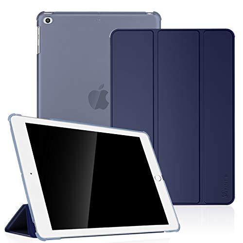 Fintie Coque pour iPad Air - SlimShell Cover Etui Housse Smart Case avec Support Ultra-Mince et léger avec Semi-Transparent Protecteur et la Fonction Sommeil/Réveil Automatique, Bleu Marrine