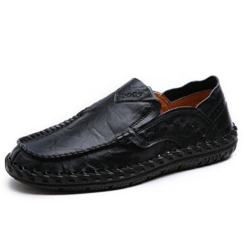 Uomo Retro Moda Scarpe da diporto traspirante Scarpe di pelle Ballerine Leggero Confortevole Scarpe casual euro DIMENSIONE 38-44 Black