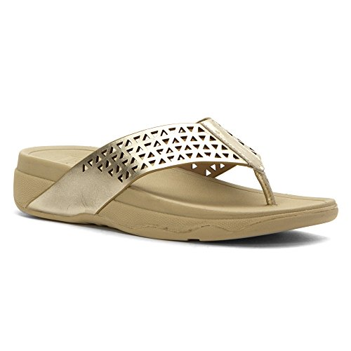 FitFlop Leather Lattice Surfa Sandals Pale Gold pale gold