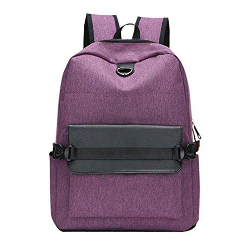 Mode Rucksack Btruely Unisex Wiederaufladbar Handtasche Backpack Schule Reise Segeltuch Schultertasche Tote (Lila) (Nylon-zwei Tote Tasche)