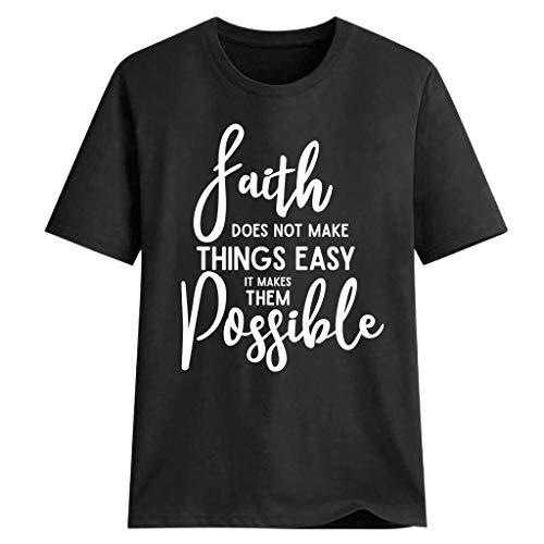 us Size T-Shirt Damen '' Der Herr ist Meine Stärke und Mein Lied '' Brief drucken T-Shirt Mode Christian Tops ()