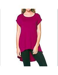 Fliegend Camiseta Mujer Manga Corta Top de Cuello Redondo Asimetría Camisas Larga Mini Vestidos Sueltos Sólidos