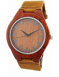 Reloj de madera Correa de cuero genuino de bambú de la madera reloj de la correa de bambú reloj de manera Hombres y reloj de las mujeres a