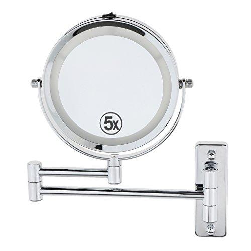 Gazechimp LED-Licht doppelseitig (Vergrößerungspiegel: 5-fach Vergrößerung) Wandhalterung Spiegel Kosmetikspiegel Schminkspiegel mit LED Beleuchtung (Vergrößerungsspiegel Wandhalterung)