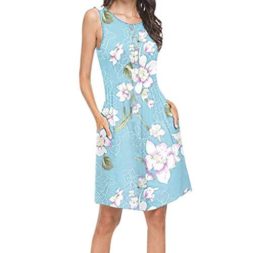 XuxMim Damen Sommerkleid Casual Chiffon Taste Kurzarm Krawatte Taille Polka Dot Einfarbig Strand Mini Shirt Kleid(Blau-1,X-Large)