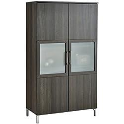 Armario vitrina de 2 puertas con cristal de salón comedor. Roble vulcano. 140x80cm