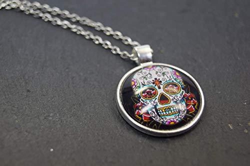 Halskette Totenkopf Mexiko Zucker Halloween Glas Geschenk