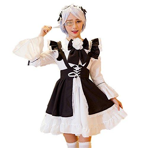 Maid Cute Kostüm - Guolipin Kostüm für Erwachsene Schwarz und weiß Klassische Taille Maid kostüm Cosplay Anime super Cute Maid Maid doppelkopfschmuck kostüm Für Frauengeschenke