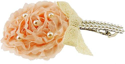 Damen Haarspange Flower Ivory Faux Perlen und Stickerei Spitze Schleife Light Peach und Rose Pink Gr. Einheitsgröße, Rosa - Rose Pink Faux-stickerei