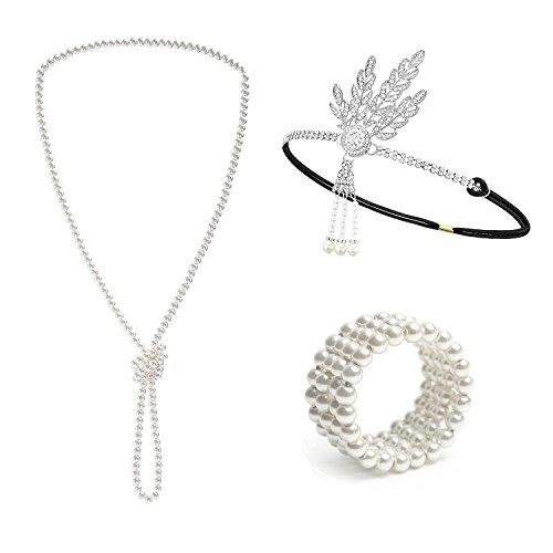 Metme 1920er Jahre Stirnband Halskette Stretch-Armband Flapper Kostüm -