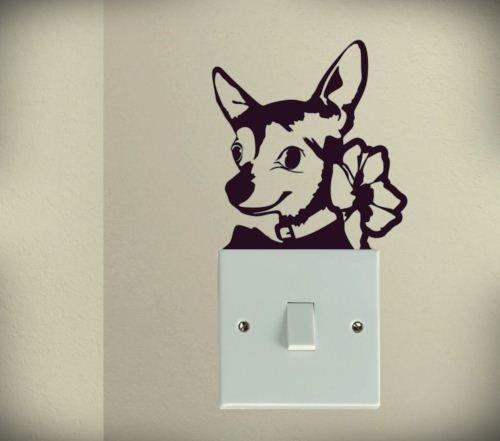 spb87 Lindo Perro Chihuahua Mascota Perro Cachorro Luz Interruptor Divertido Vinilo el Amor corazón decoración hogar Live Bebé Divertido Pegatinas de Pared Arte Decal