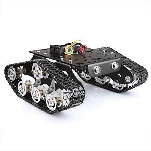 TSSS Installiert Roboter Car Tank STEM Educational Aluminium-Legierung Plattform Auto mit Dämpfung-Effekt System mit 2 DC 9V Motor für Arduino Raspberry Pi DIY Set 20 m / min Belastung 3kg