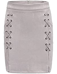 cc0237adc99 Bigood Femme Vogue Jupe en Cuir Artificiel au Lacet A-Line Casual