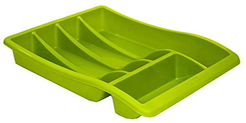Whitefurze Cutlery Tray, Plastic, Leaf Green