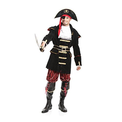 Kostümplanet® Piraten-Kostüm Herren Pirat Deluxe mit + Stiefel-Stulpen 6-tlg. Komplettes Kostüm Größe (Piraten Herren Stiefel)