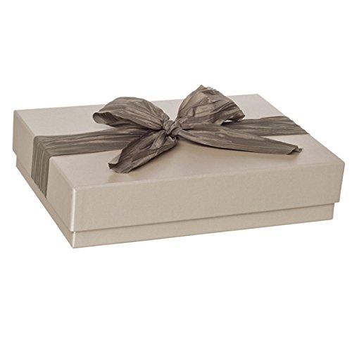 Rössler Papier Geschenkbox taupe mit Schleife, rechteckig, 31 x 22 x 7 cm, 1 Stück