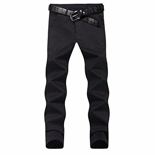 Men's Casual Slim Fit Skinny Cotton Trousers Black