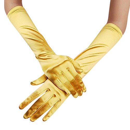 (Likecrazy lange Satin elegante Handschuhe Vintage Opera Party Handschuhe Frauen Mode Einfarbig Winter Outdoor Sport Warme Handschuhe Party Tanzen Halloween Weihnacht Handschuhe (Gelb,one size))