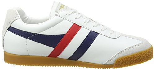 Gola Harrier Leather, Baskets Homme Blanc (White/navy/red)