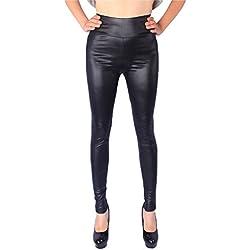 Yiiquan Mujer Cómodos Talla Grande Pantalones elásticos Cuero De Imitación Leggings Negro Imperio CN 5XL