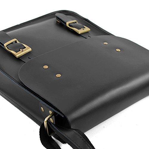 ital. Ledertasche Messengertasche Unisex Umhängetasche DIN A4 Büro Business Echtleder T109 Schwarz