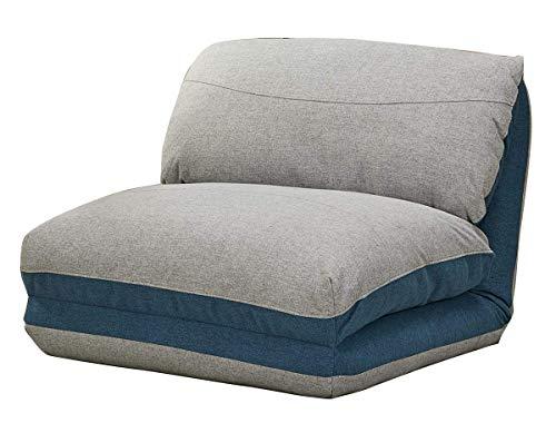 Meubletmoi Fauteuil Convertible Couchage lit 1 Place Tissu Doux Gris Bleu - 3 Positions - Ultra Confortable - Zen