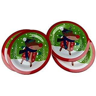 Anker International Set Of 4 Child's or Adult's Christmas Melamine Dinner Plates - Reindeer