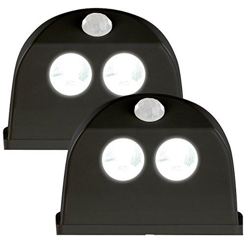 Luminea LED Lampe Bewegung: 2er-Set LED-Türleuchten, Bewegungs-/Lichtsensor, 0,4 W, 50 lm, schwarz (LED-Tür-Lampen)