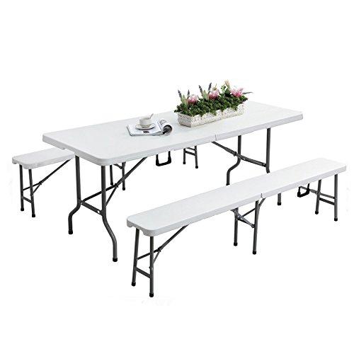 Panana® Mesa Plegable para 6 Portátil Camping Buffet Compartimentos Ordenador Fiesta Cocina Comedor Terraza 180*71*74cm Blanca