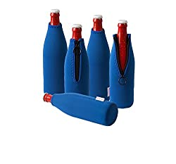 Dress-your-drink Neopren Flaschenkühler, Weinkühler, Getränkekühler (5er Spar-set 0.5 Liter, Blau)