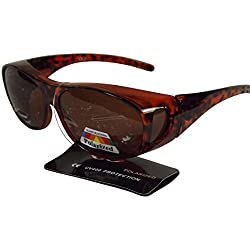 Sonnen-Überbrille mit Flexbügeln versch. Farben UV 400 Polarisiert im Set (Leopard)