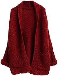 MILEEO Femme Cardigan en tricot manches relevés lâche gros chauve-souris manteau pulls avec deux poche