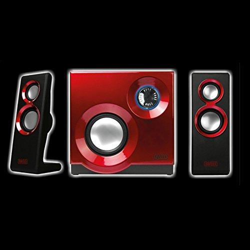 Sweex Design 2.1 Lautsprecher System für Pc Computer Laptop Notebook Gamer Gaming TV Box Boxen mit Subwoofer rot hochglanz lack Lautsprechersystem
