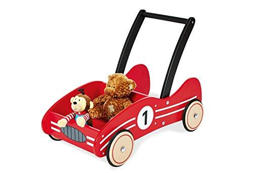 Pinolino Lauflernwagen Kimi, aus Holz, mit Bremssystem, Lauflernhilfe mit gummierten Holzrädern, für Kinder von 1 - 6 Jahren, rot